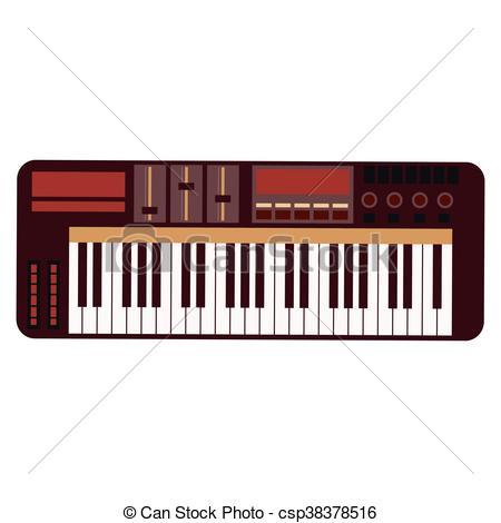 450x470 Flat Design Electronic Piano Keyboard Icon Vector Vector Clip