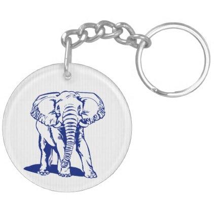 422x422 Cute Navy Blue Elephant Line Drawing Keychain