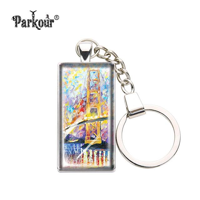 640x640 Painting Flamingo Keychain Glass Cabochon Golden Gate Brige