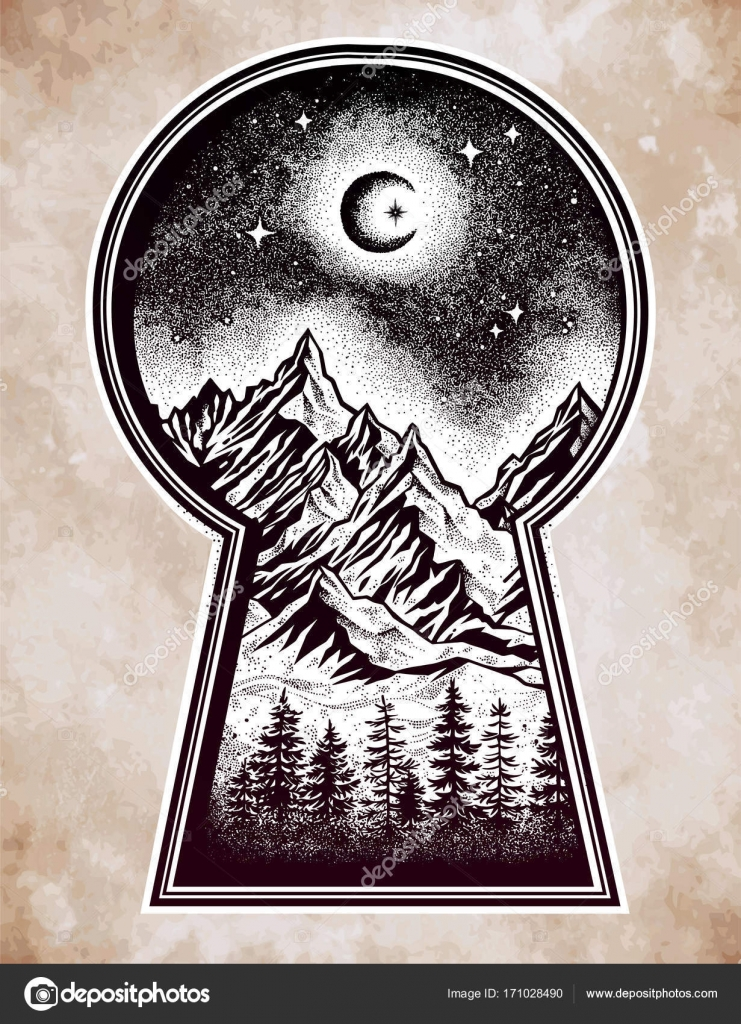 741x1024 Keyhole With Nature Pine Forest Mountain Landscape Stock Vector