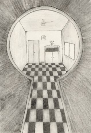 317x461 Looking Through A Keyhole By Oswin Drawings Kuvis