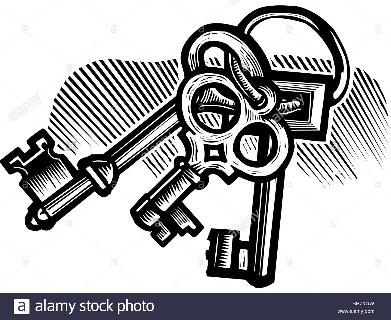 1300x1065 A Black And White Drawing Of A Set Of Skeleton Keys Stock Photo