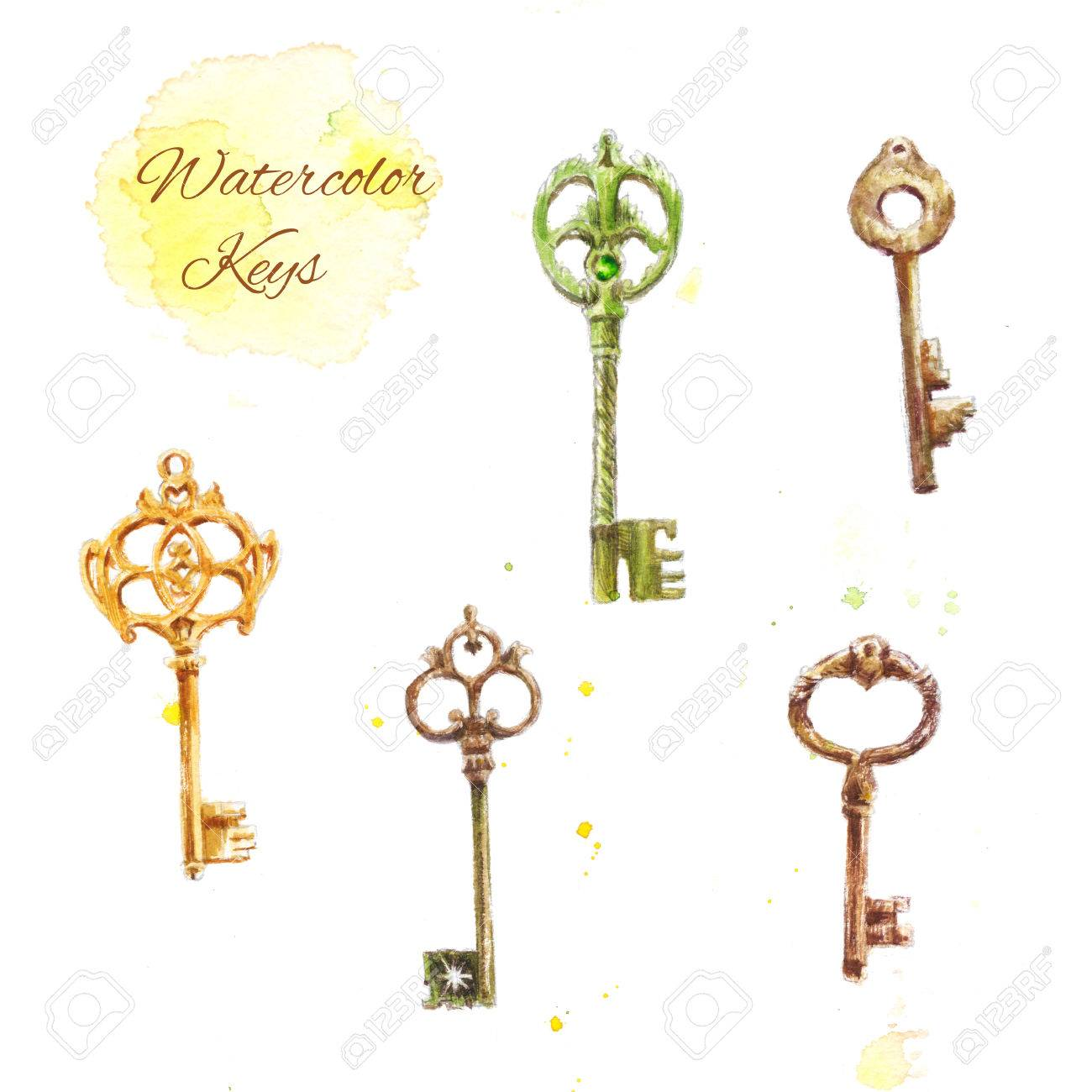 1300x1300 Set Of Watercolor Keys, Vintage Drawing Of Five Keys Stock Photo