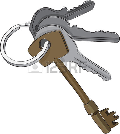 402x450 Sketched Line Drawing Of A Set Of Keys On A Keyring Or Keychain