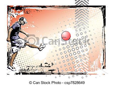 450x338 Kickball Poster. Illustration Of The Kickball Player Eps Vectors