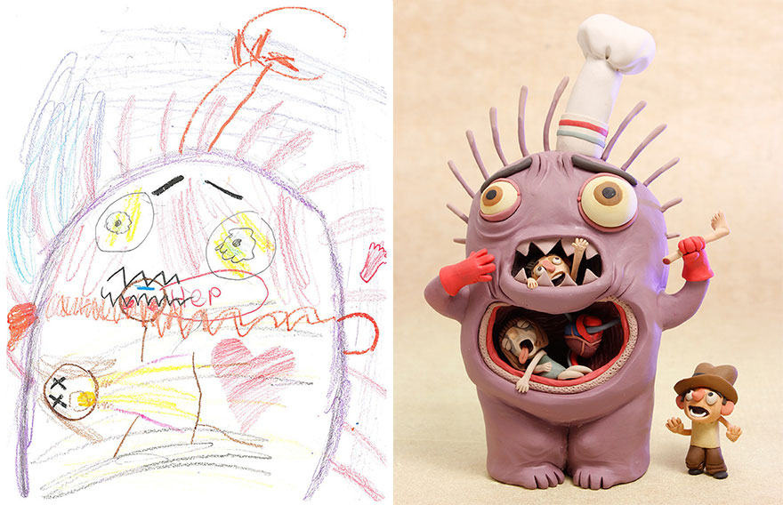 880x568 Artists Recreate Kids' Monster Doodles In Their Unique Styles