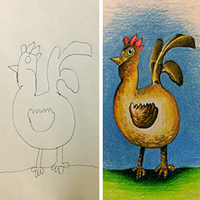 290x290 Artists Redraw Kids' Doodles Of Scary Monsters In Their Own