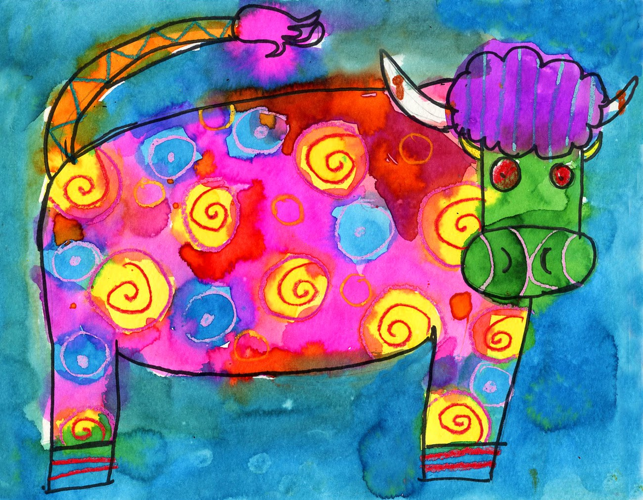 1300x1011 Colorful Cow Art Drawing Project For Kids Ziggity Zoom