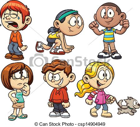 450x408 Hand Drawing Cartoon Character Happy Kids Playing Stock Vector