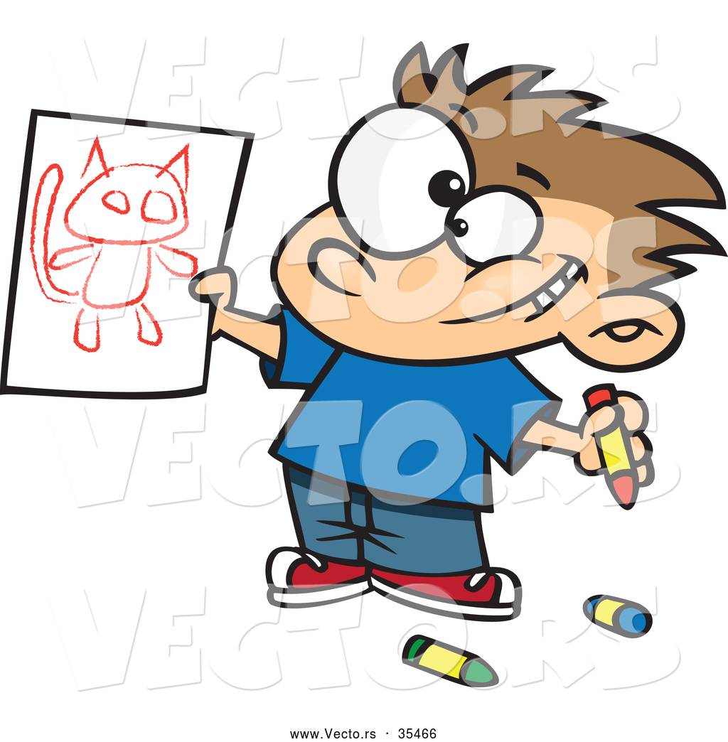 1024x1044 Vector Of A Proud Cartoon Boy Showing His Cat Drawing By Toonaday