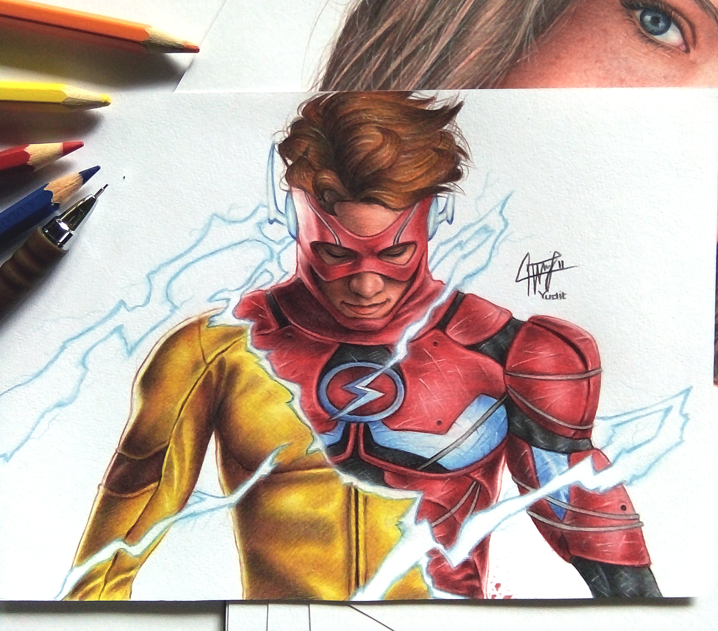 Kid Flash Drawing at GetDrawings.com | Free for personal use Kid ...