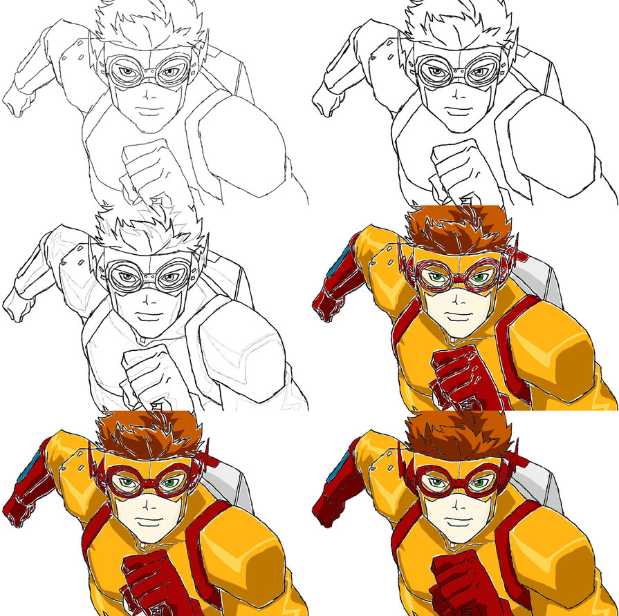 895x892 Stages 1 6 Of Kid Flash Drawing By Boobyr00de