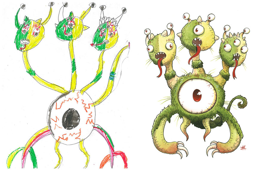880x570 Artists Recreate Kids' Monster Doodles In Their Unique Styles