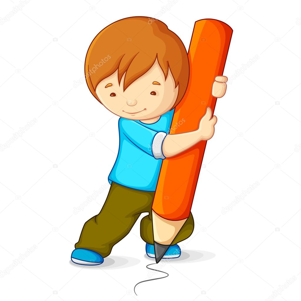 1024x1024 Kid Drawing With Pencil Stock Vector Stockshoppe
