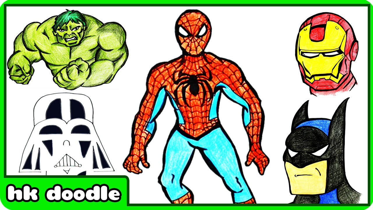1280x720 How To Draw Superheroes For Kids Spiderman, Batman, Iron Man