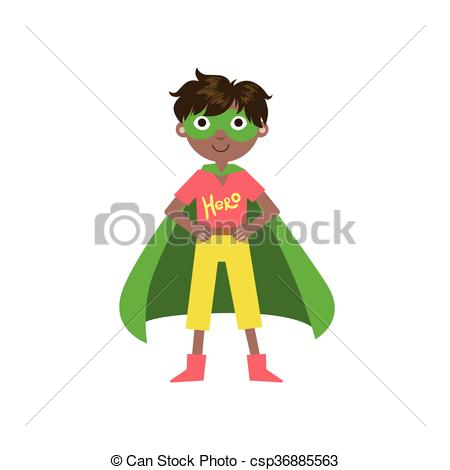 450x470 Kid In Superhero Costume With Green Cape Funny And Adorable