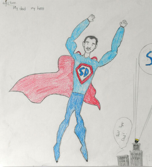 500x550 Take A Drawing That Your Child Created Of Super Dad And Transfer