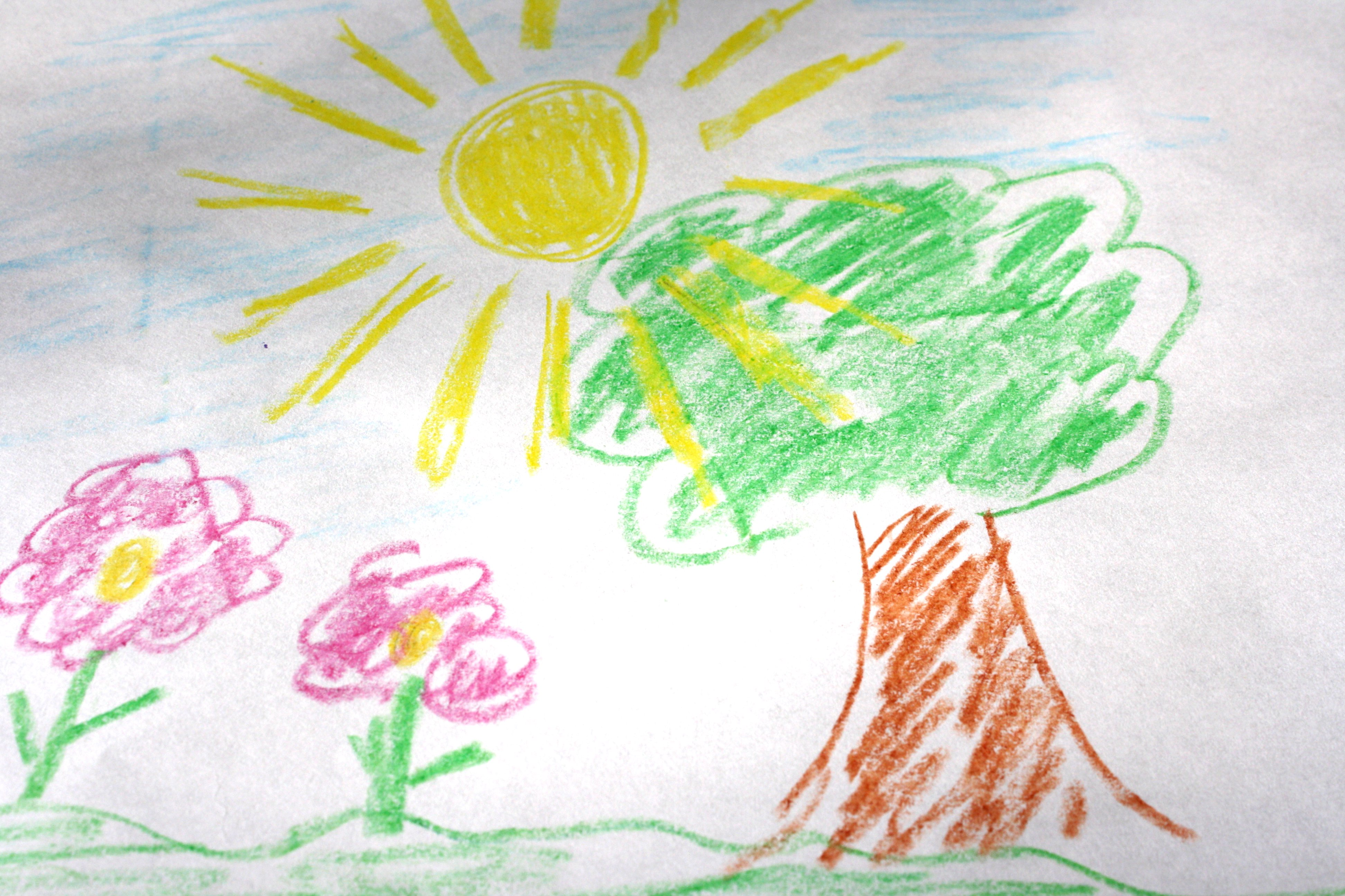 3888x2592 Child's Crayon Drawing Of Tree With Sun And Flowers Picture Free