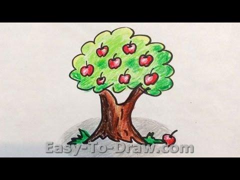 480x360 How To Draw A Cartoon Apple Tree