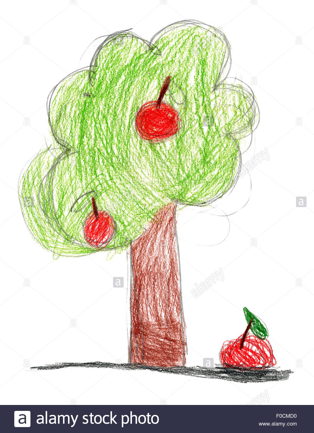 1011x1390 Children's Drawing. Tree With Apple Stock Photo 86331308