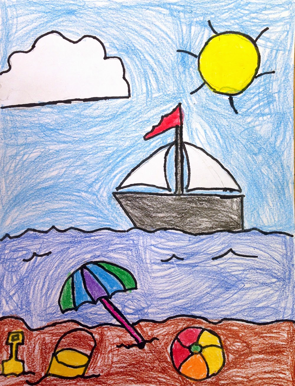 1000x1307 Art Projects For Kids Ryan's Seaside Drawing. Easy Summer Fun