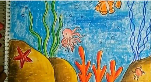 496x271 Children's Art How To Draw And Color An Underwater Scene Using Oil