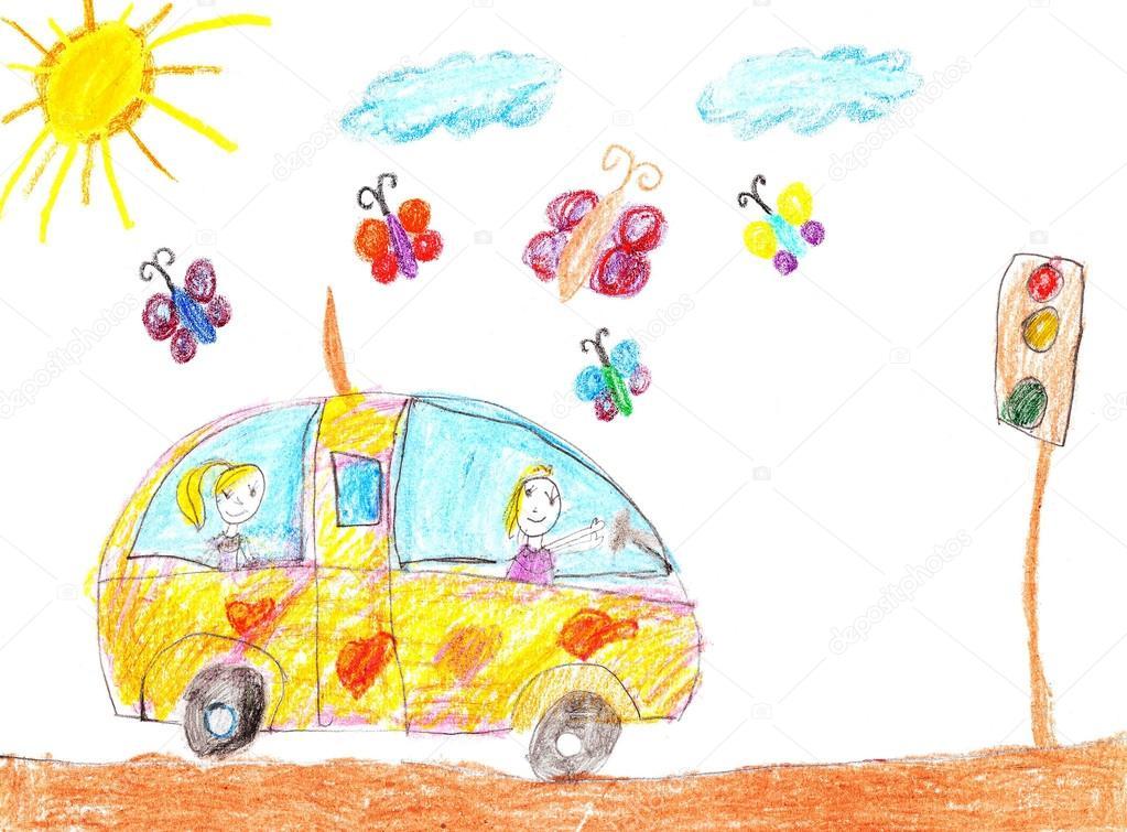 1023x755 Children Drawing Car Trip Stock Photo Strekalova