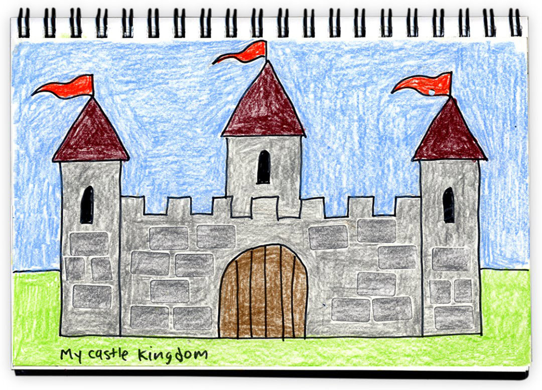 1080x777 Castle Drawing For Kids Art Projects For Kids Textured Castle
