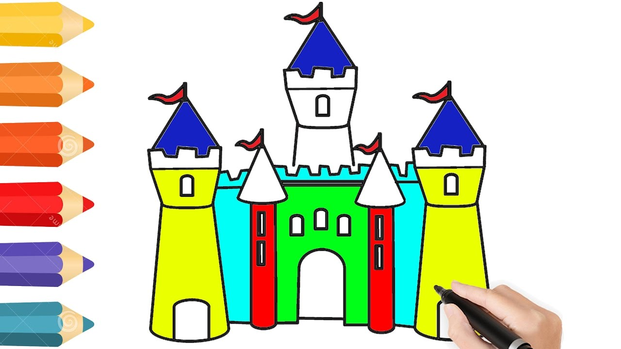1280x720 Coloring Pages Disney Castle Amp Drawing For Children How To Color