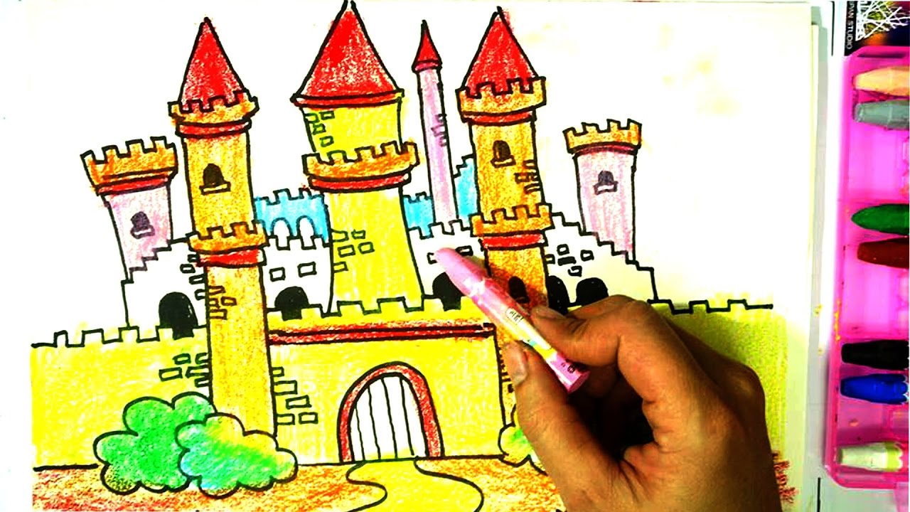 1280x720 How To Draw And Paint Castle For Kids,drawing Castle For Learning