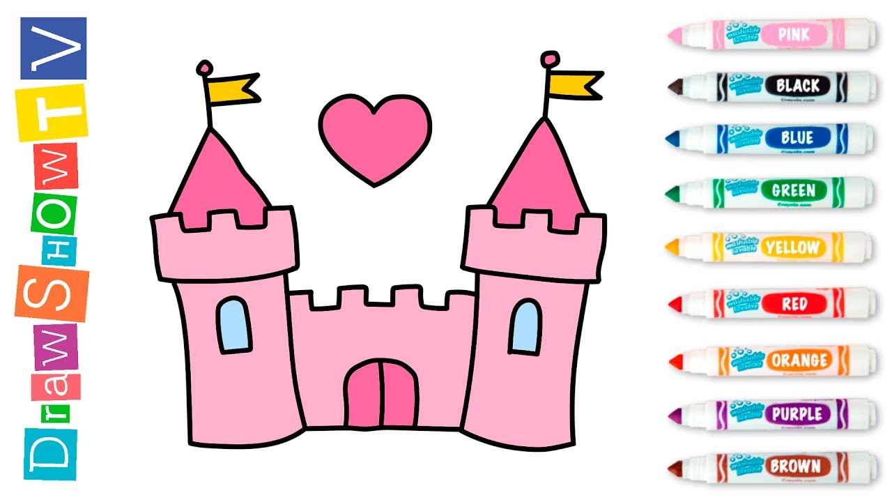 1280x720 How To Draw Castle Of Princess Coloring Pages Video For Kids