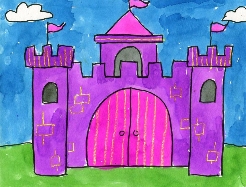858x650 Watercolor Castle