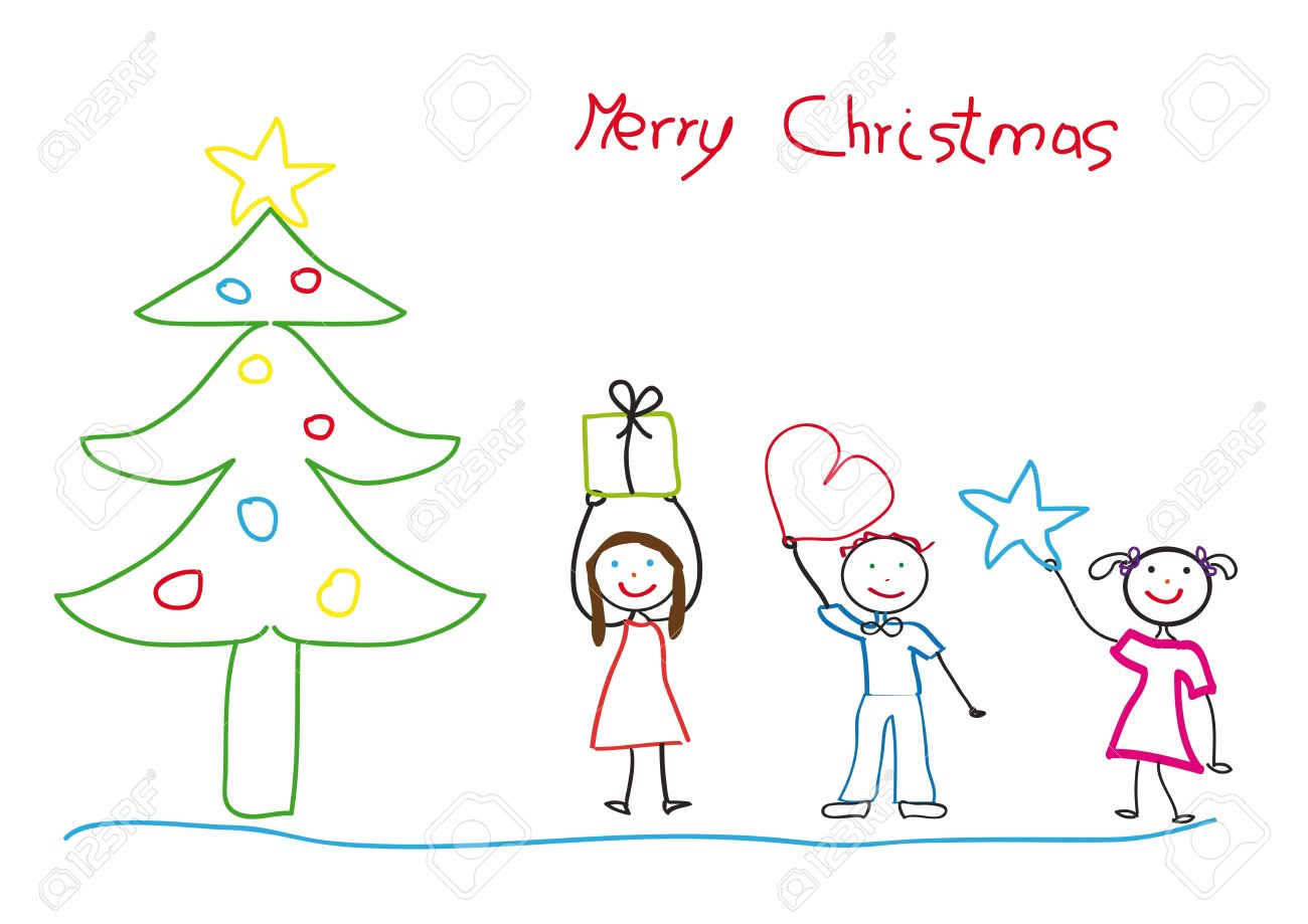 1300x919 Kids Drawing With Christmas Tree And Children Royalty Free