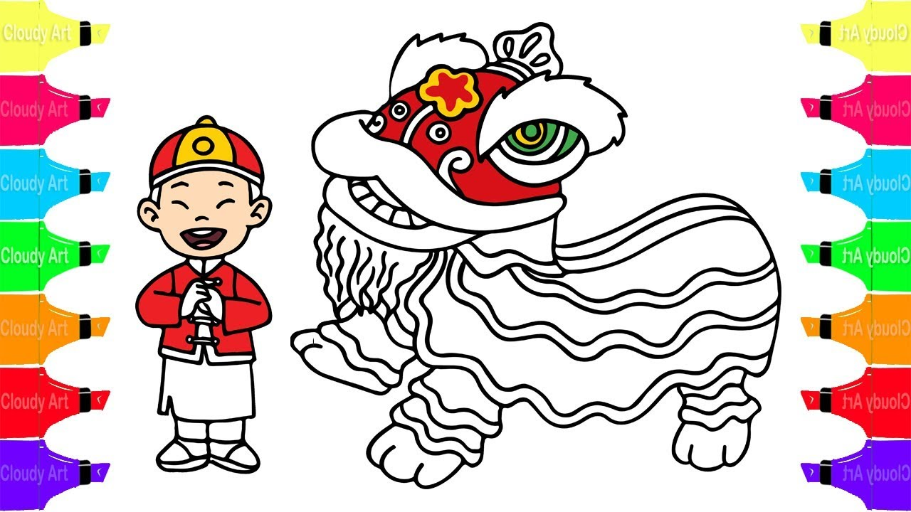 1280x720 Draw And Coloring Lion Dance