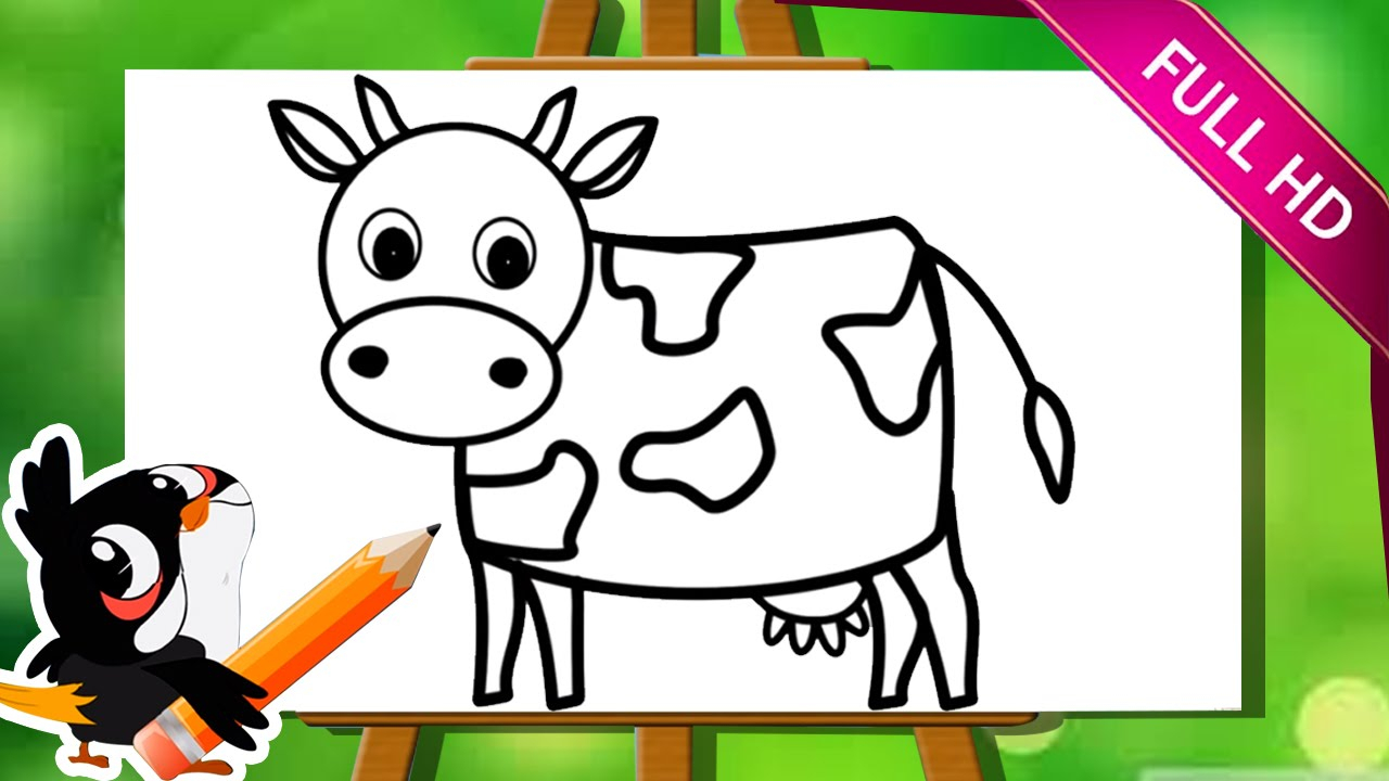 1280x720 Kids Drawing Animals Learn How To Draw A Cow How To Draw Animals