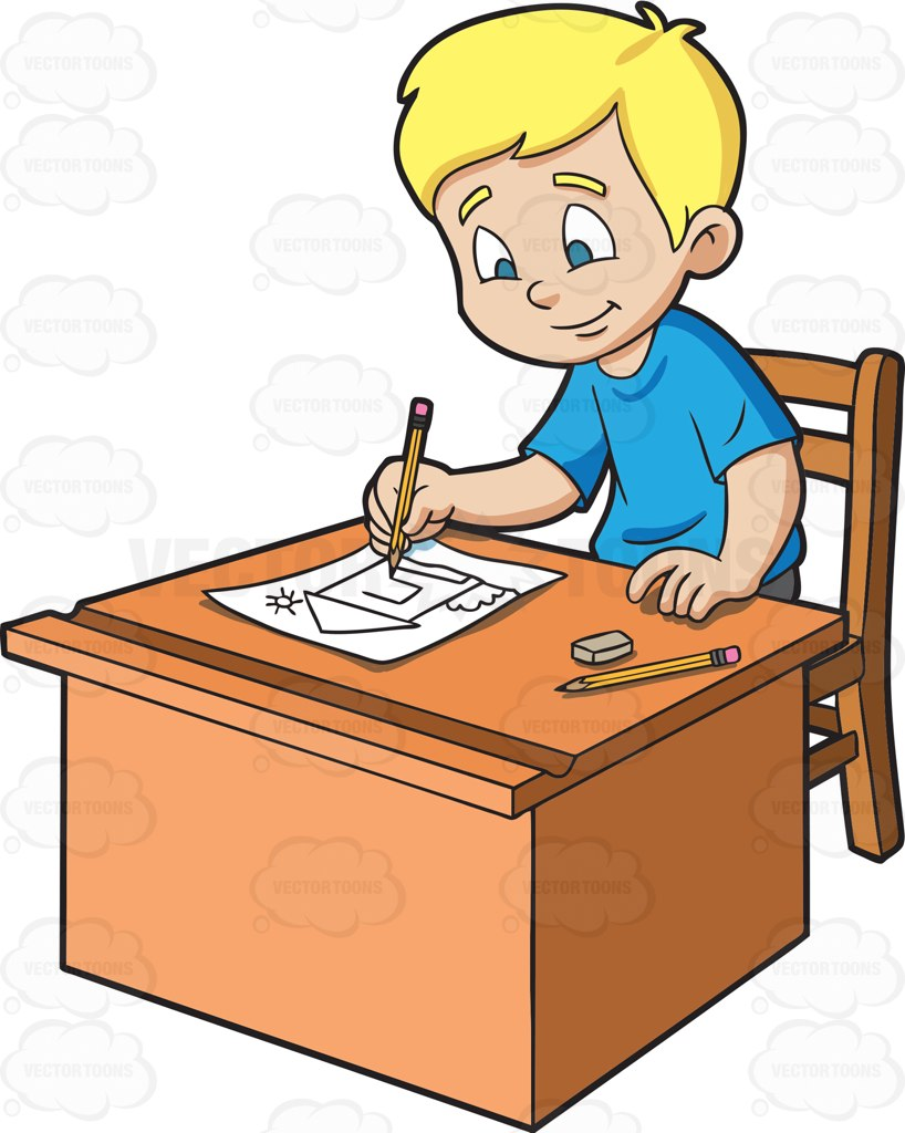 818x1024 A Boy Sketching A House On Paper Cartoon Clipart
