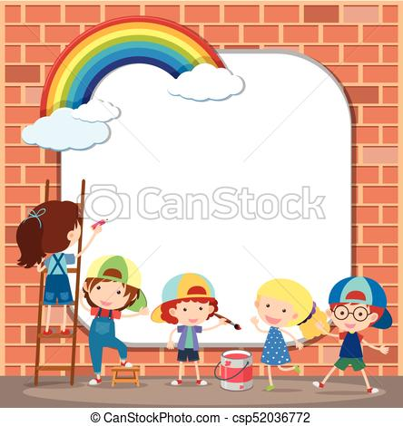 444x470 Border Template With Kids Drawing On Brickwall Illustration