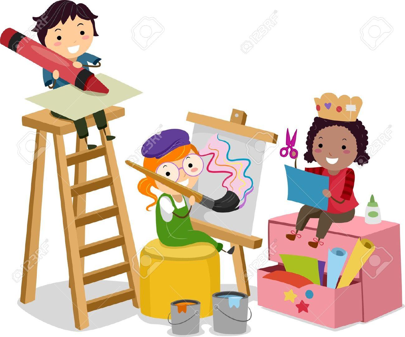 1300x1080 Illustration Of Stickman Kids Making Arts And Crafts Stock Photo