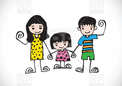 400x284 Kids Drawing With Happy Family Picture Royalty Free Vector Clip