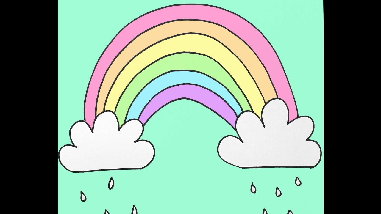 1280x720 How To Draw A Rainbow And Clouds Beginners Drawing Tutorial