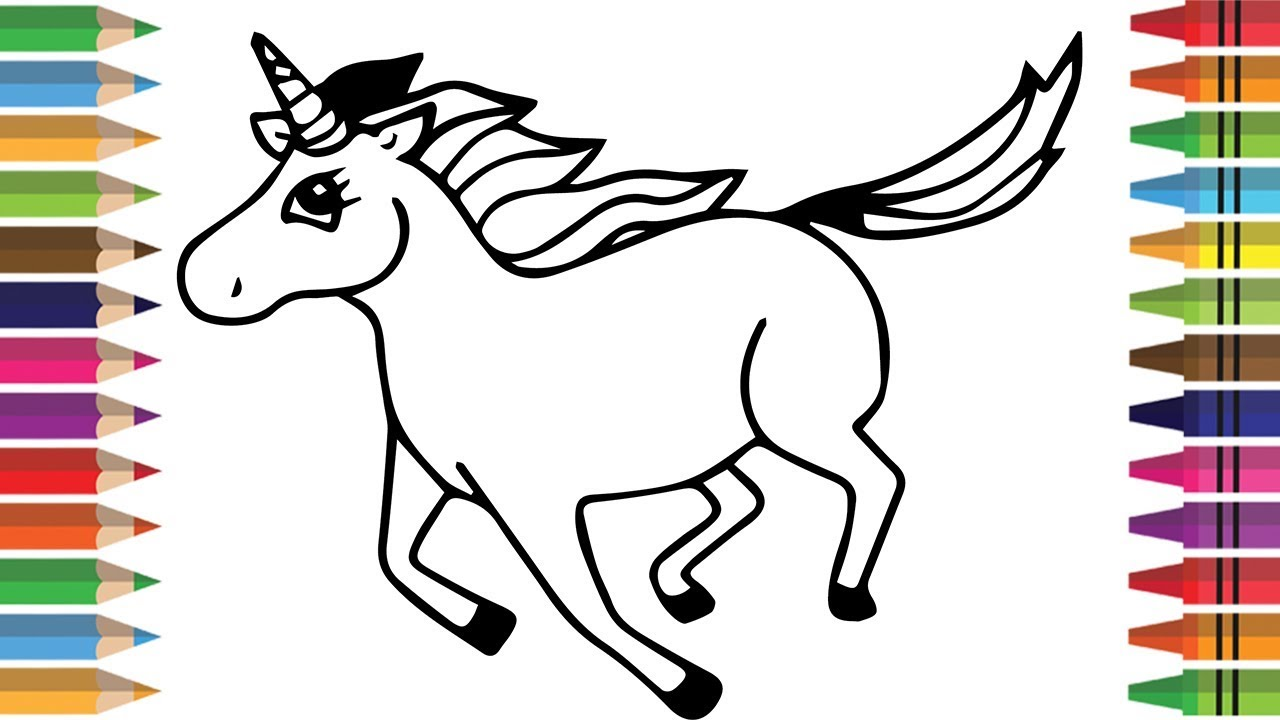 1280x720 Horse Coloring Pages For Kids Drawing For Kids Learn Colors