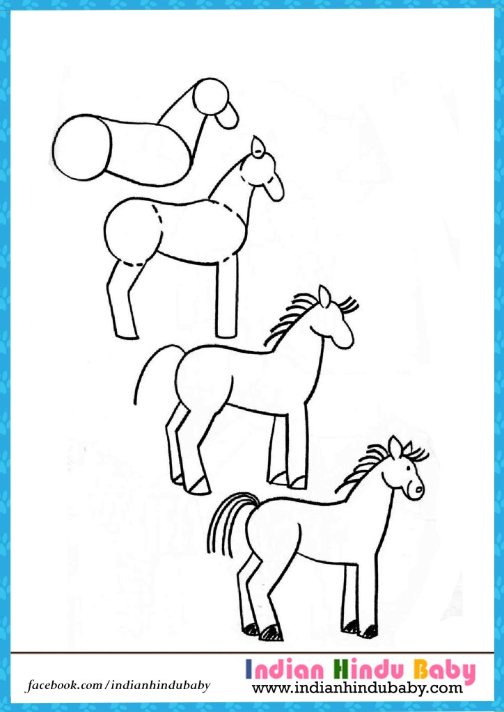 724x1024 Horse Step By Step Drawing For Kids Indian Hindu Baby