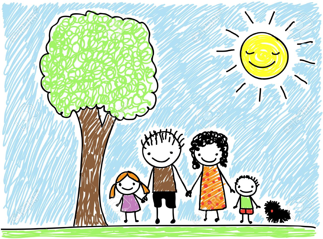 1300x965 Children's Drawing Style Family With Dog Royalty Free Cliparts