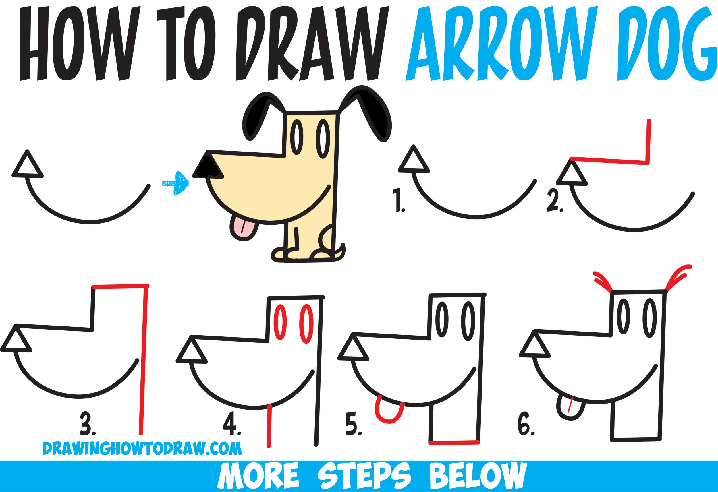 2500x1714 How To Draw A Cartoon Dog From An Arrow Shape