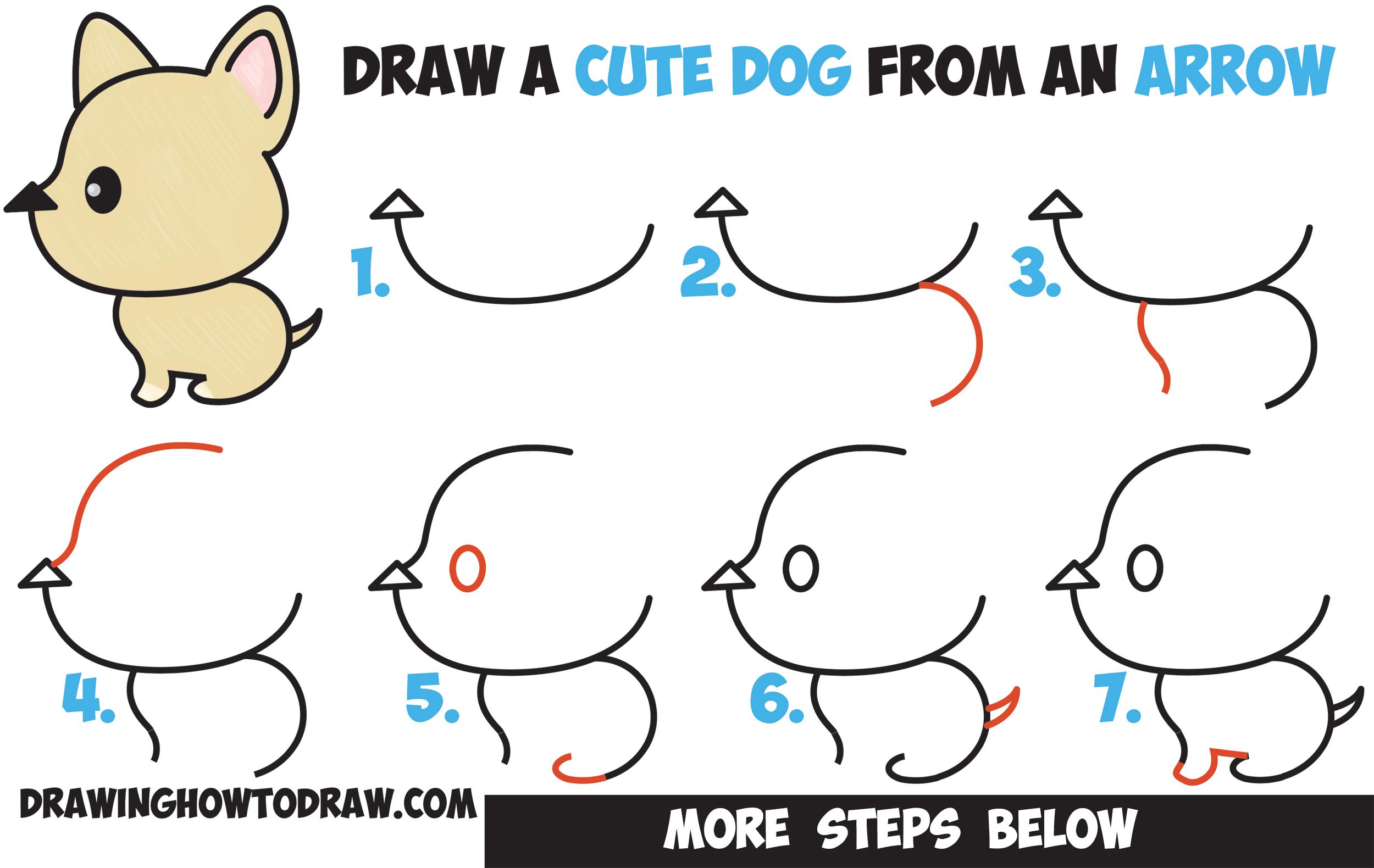 2500x1580 How To Draw A Cute Cartoon Dog (Kawaii Style) From An Arrow Easy