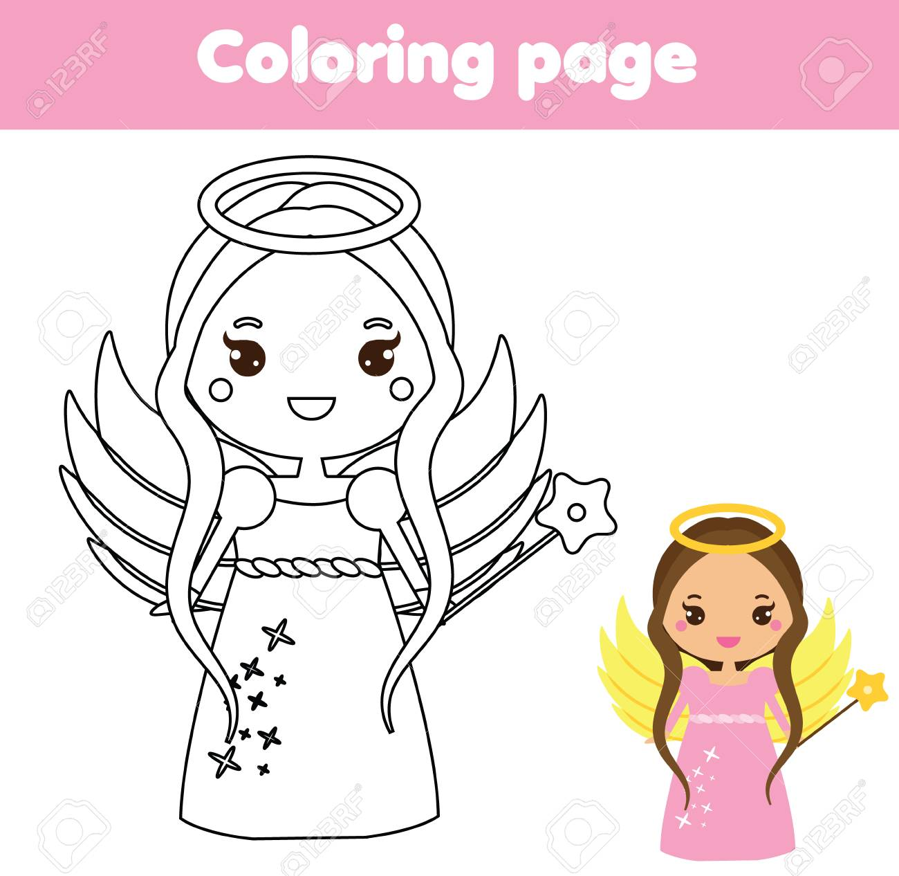 1300x1266 Coloring Page With Cute Angel In Kawaii Style. Color The Picture