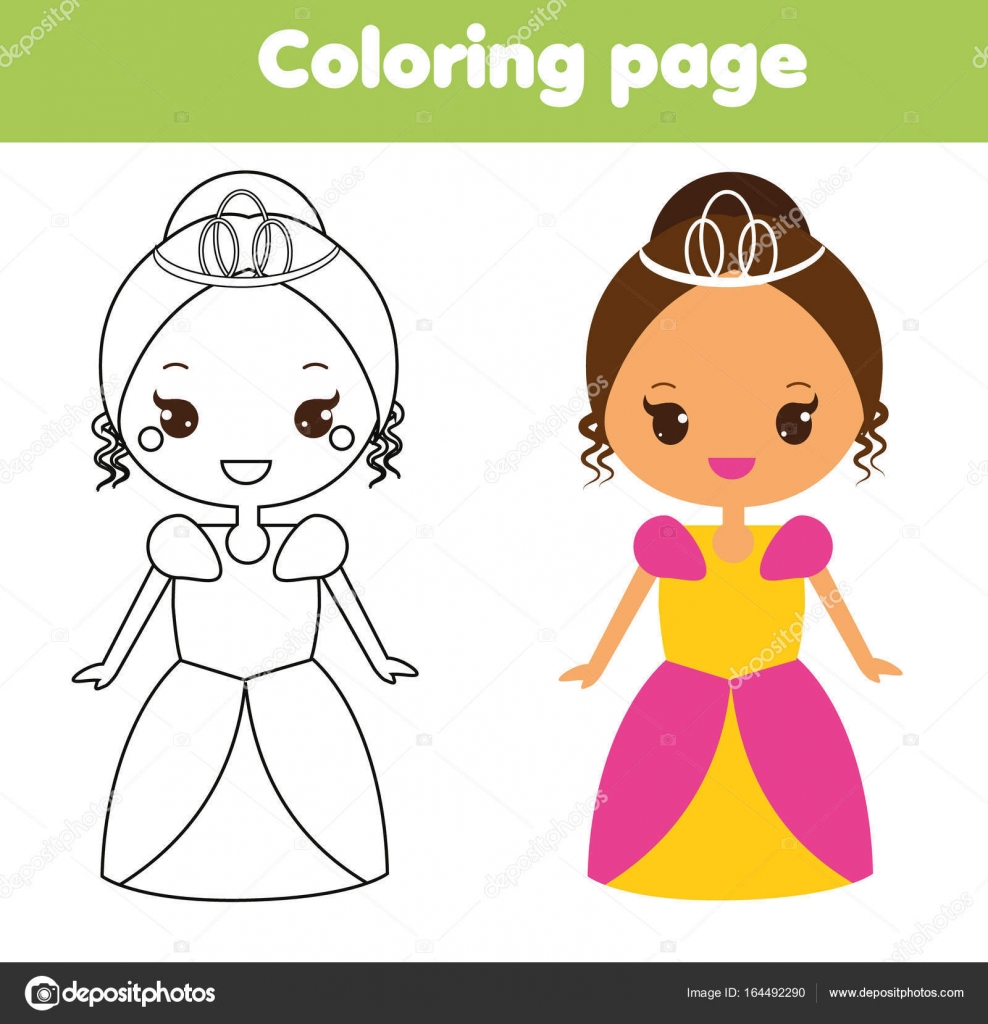 988x1024 Cute Princess Coloring Page Drawing Educational Game For