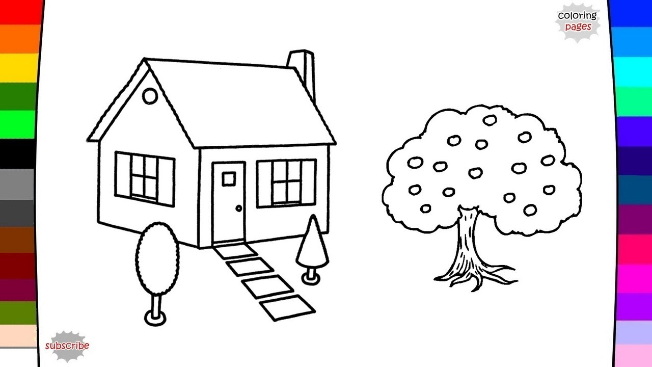 1280x720 Garden House Coloring Page