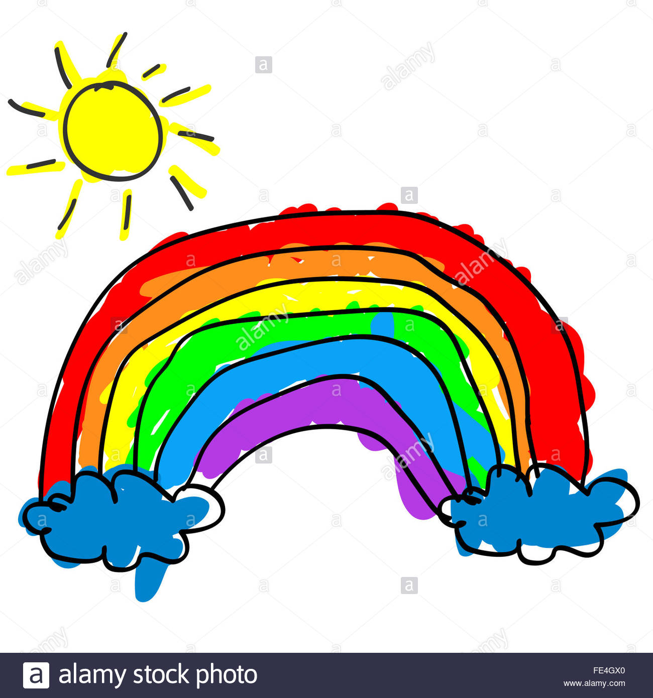 1300x1390 Childlike Cute Rainbow With Color Outside The Outline Like A Kid'S