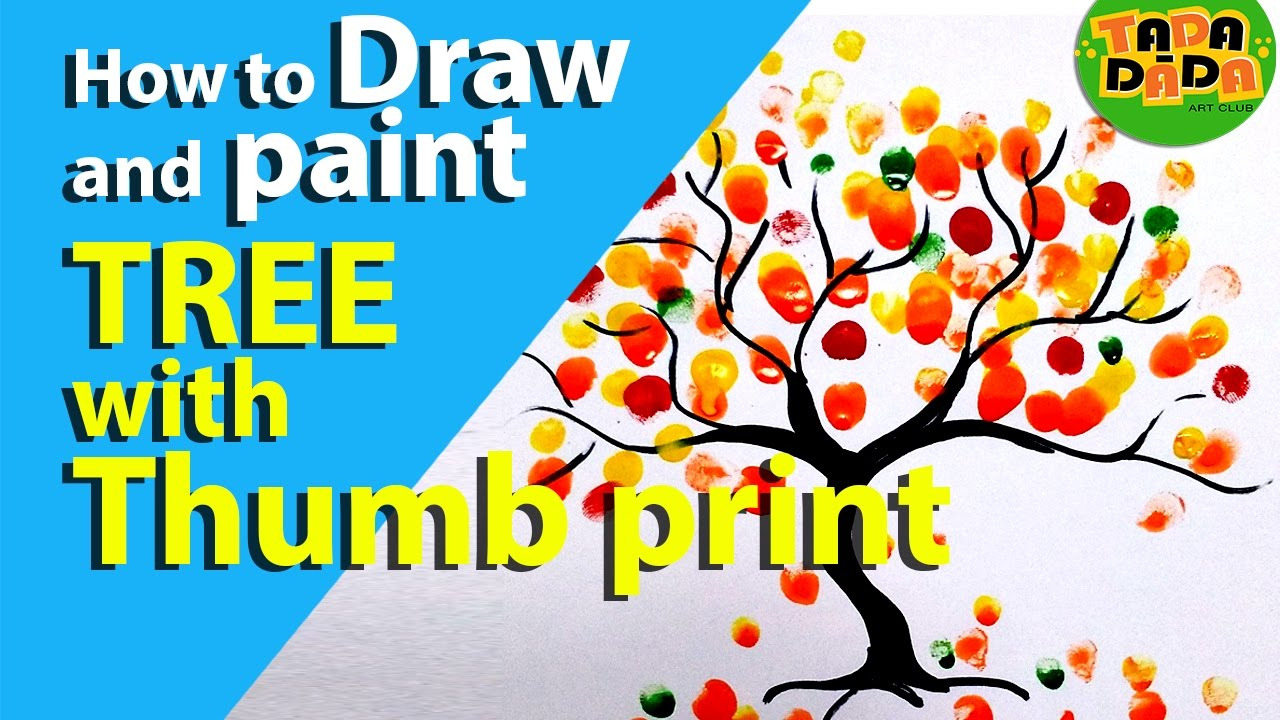 1280x720 How To Make Colorful Tree With Thumb Print Step By Step Kids